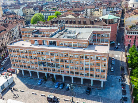TURIN, ITALY - APRIL 22, 2015: The Ufficio Tecnico meaning municipal building department was designed by architect Mario Passanti in 1950 (HDR)