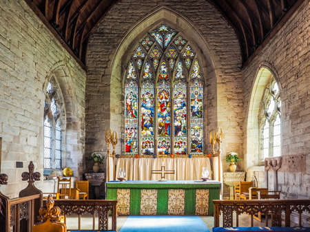 TANWORTH IN ARDEN, UK - SEPTEMBER 25, 2015: Parish Church of St Mary Magdalene interior view (HDR)