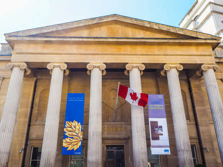 hosts: LONDON, UK - JUNE 11, 2015: Canada House in Trafalgar Square hosts the High Commission of Canada in the United Kingdom (HDR)