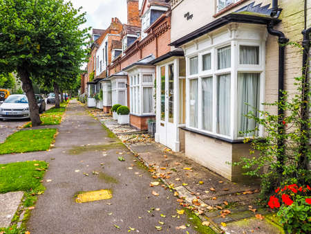 typically: TANWORTH IN ARDEN, UK - CIRCA SEPTEMBER 2015: A row of typically British terraced houses aka townhouses (HDR)