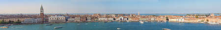VENICE, ITALY - CIRCA OCTOBER 2016: Wide panoramic view of the city of Venice, including Piazza San Marco (meaning St Mark Square)