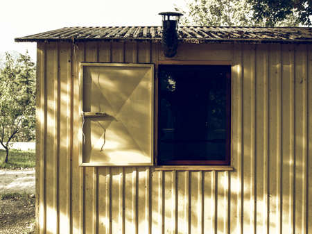 prefab: Vintage looking Detail of a prefabricated house prefab