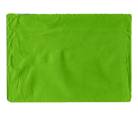 mailing: Green letter envelope for mailing isolated over white