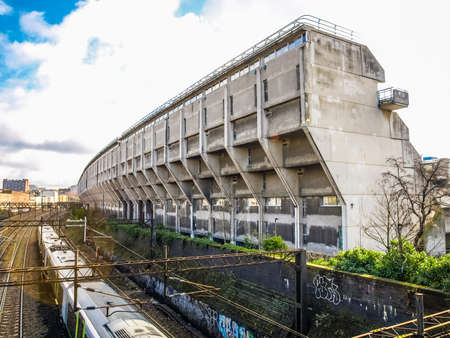 public housing: LONDON, ENGLAND, UK - MARCH 04, 2009: The Alexandra Road estate designed in 1968 by Neave Brown applies the terraced house model to high-density public housing is a masterpiece of new brutalist architecture (HDR) Editorial
