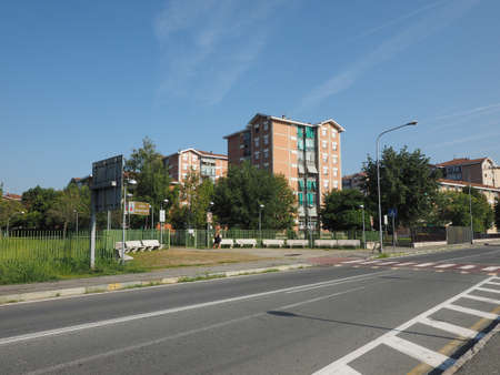 fiat: SETTIMO TORINESE, ITALY - CIRCA SEPTEMBER 2016: Villaggio Fiat social housing seen from the park Editorial