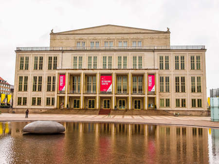 leipzig: LEIPZIG, GERMANY - JUNE 14, 2014: The new Opera House built in 1956 is the main music venue in Leipzig (HDR)