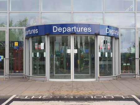 departures: BRISTOL, UK - CIRCA OCTOBER 2016: Departures entrance at Bristol International Airport