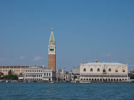 st mark: VENICE, ITALY - CIRCA SEPTEMBER 2016: Piazza San Marco (meaning St Mark square) seen from San Marco basin