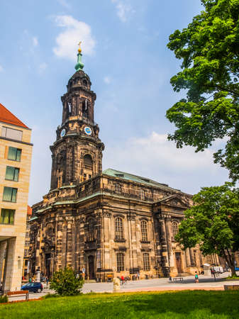 largest: DRESDEN, GERMANY - JUNE 11, 2014: Kreuzkirche meaning Church of the Holy Cross is the largest church in Saxony (HDR) Editorial