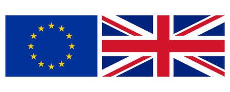 Flag of the European Union (EU) and the United Kingdom (UK) aka Union Jack
