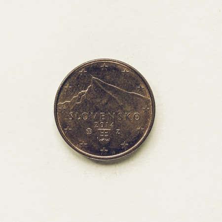 Vintage Aussehende Währung Der Europa 1 Euro Münze Aus Der Slowakei