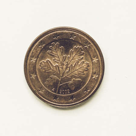 cent: Vintage looking Currency of Europe 5 cent coin from Germany