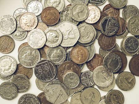 Vintage Schauende Britische Pfund Münze Währung Des Vereinigten