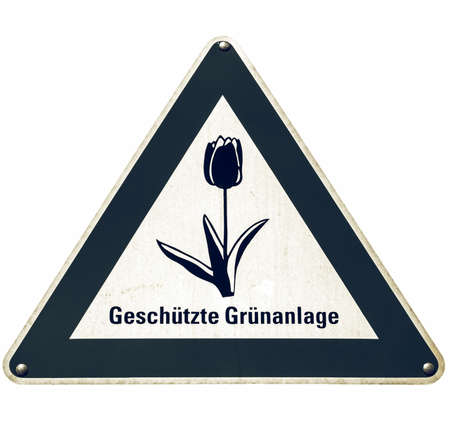 deutsch: Vintage looking A traffic or a construction site sign - in German (Deutsch) - isolated over white background
