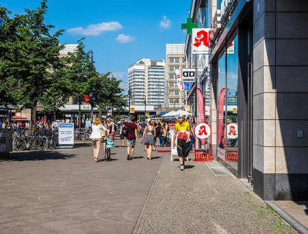 BERLIN, GERMANY - CIRCA JUNE 2016: People in Alexanderplatz square (HDR)