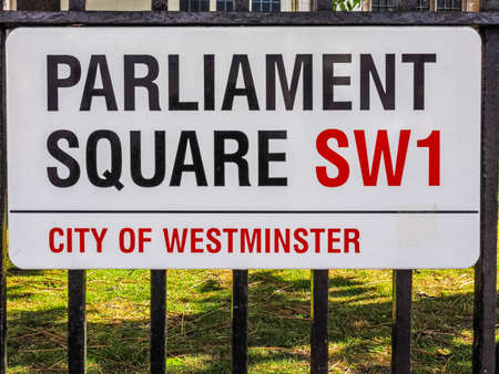 parliament square: LONDON, UK - JUNE 09, 2015: Parliament Square sign in the City of Westminster (HDR)