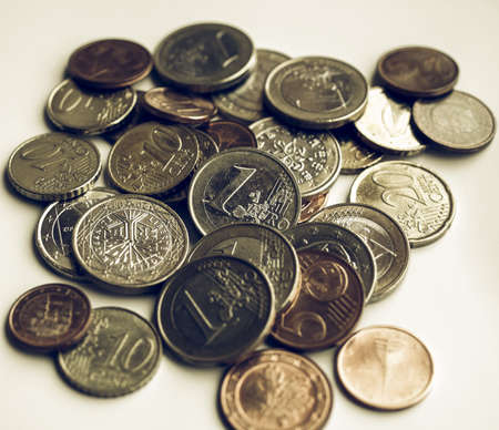 european currency: Vintage looking Background of Euro coins money (European currency)