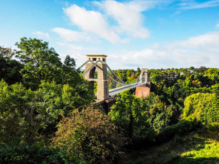 HDR Clifton Suspension Bridge spanning the Avon Gorge and River Avon designed by Brunel and completed in 1864 in Bristol, UK Stock Photo