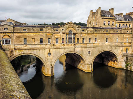 HDR Pulteney Bridge over the River Avon in Bath, UK Stock Photo