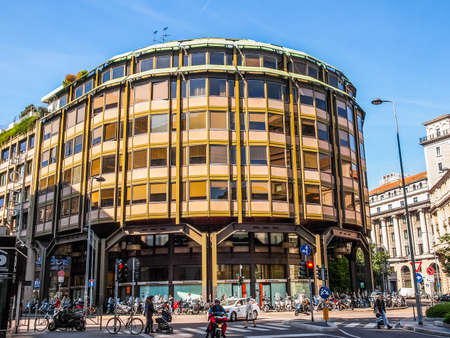 MILAN, ITALY - APRIL 10, 2014: The Piazza Meda office building was designed by BBPR in 1958 for the Chase Manhattan Bank (HDR) Editorial