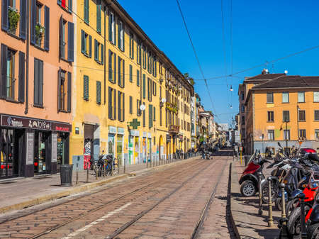 ticinese: MILAN, ITALY - MARCH 28, 2015: Via Porta Ticinese in Milan (HDR)