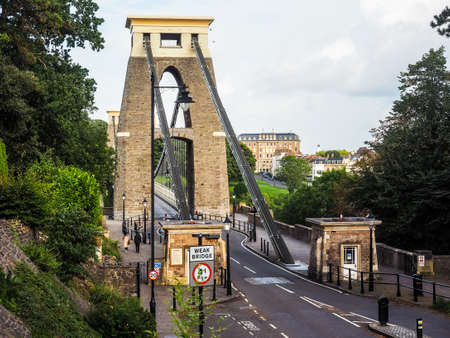 west river: HDR Clifton Suspension Bridge spanning the Avon Gorge and River Avon designed by Brunel and completed in 1864 in Bristol, UK Stock Photo