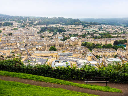 somerset: HDR Aerial view of the city of Bath, UK
