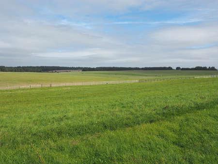 English country panorama around Salisbury in England, UK