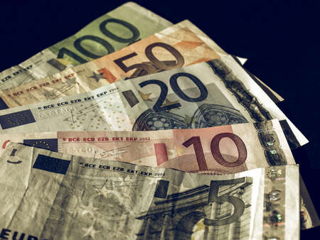 Vintage looking Euro banknote (currency of the European Union) - selective focus