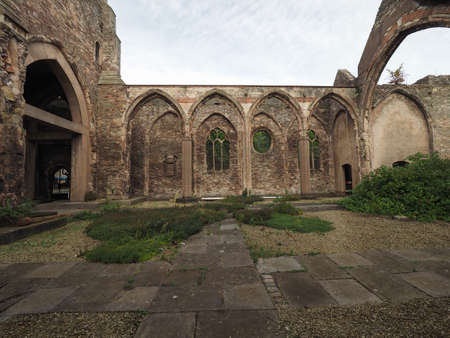 Ruins of St Peter church in Castle Park bombed during World War II and now preserved as a memorial in Bristol, UK Editorial