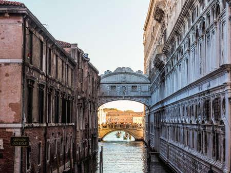 HDR Ponte dei Sospiri (meaning Bridge of Sighs) in Venice, Italy Stock Photo