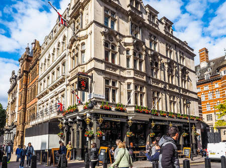 LONDON, UK - JUNE 09, 2015: The Red Lion pub situated in London political heart near the Houses of Parliament has been the favoured pub of the political elite for centuries (HDR)