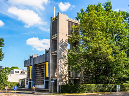 st german: LEIPZIG, GERMANY - JUNE 12, 2014: The Propsteikirche St Trinitas meaning Church of St Trinity parish church designed in 1968 by the school of architecture of the GDR is a masterpiece of modern architecture (HDR)