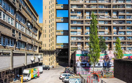 masterpiece: LONDON, UK - SEPTEMBER 28, 2015: The Trellick Tower designed by Erno Goldfinger in 1964 is a masterpiece of new brutalist architecture (HDR) Editorial