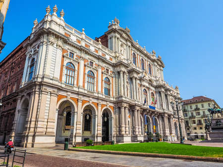 TURIN, ITALY - AUGUST 05, 2015: The National Museum of the Italian Risorgimento (Museo nazionale del Risorgimento italiano) is housed in Palazzo Carignano seat of the first Italian parliament (HDR)