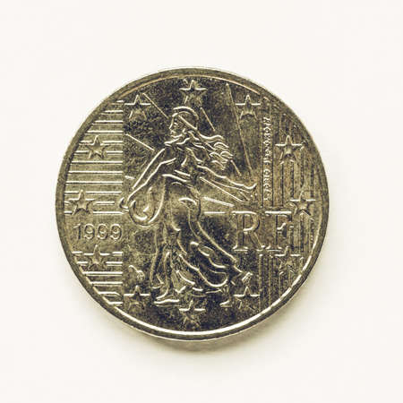 cent: Vintage looking Currency of Europe 50 cent coin from France