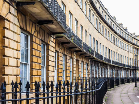 HDR The Norfolk Crescent row of terraced houses in Bath, UK Stock Photo