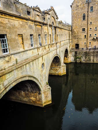 somerset: HDR Pulteney Bridge over the River Avon in Bath, UK Editorial