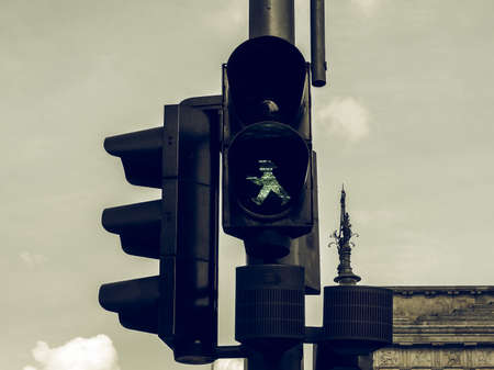 semaforo peatonal: Vintage looking Traffic signal,  Green light meaning go if the way is clear