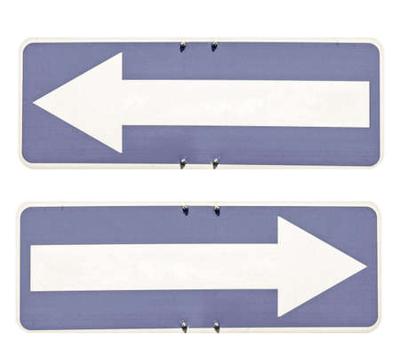 Vintage looking Blank direction arrow sign with copy space, type your own text, left and right arrow over blue background