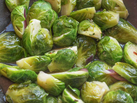 brussels sprouts: Brussels sprouts cabbage (Brassica oleracea) vegetables vegetarian food Stock Photo