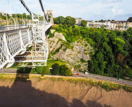 HDR Clifton Suspension Bridge spanning the Avon Gorge and River Avon designed by Brunel and completed in 1864 in Bristol, UK Editorial