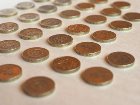 uk money: Array of Pound (GBP) coin, currency of United Kingdom (UK) - Perspective with selective focus