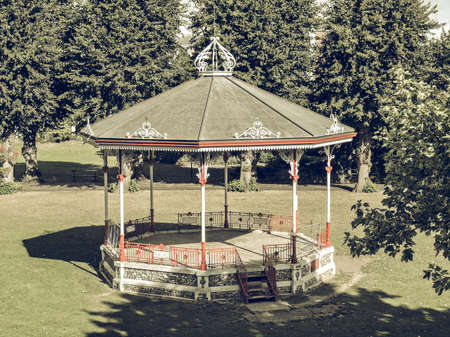 bandstand: Vintage looking Bandstand for playing music in public park in Canterbury Kent UK Stock Photo