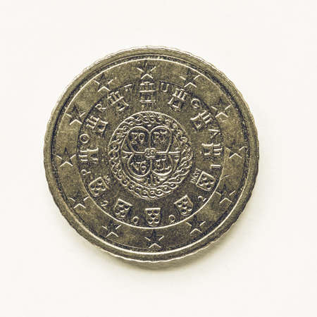 cent: Vintage looking Currency of Europe 50 cent coin from Portugal Stock Photo
