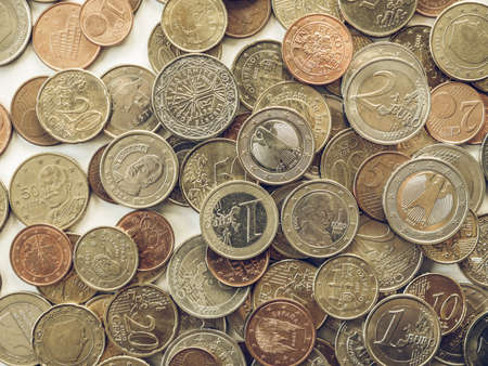 geld: Vintage looking Euro coins currency of the European union