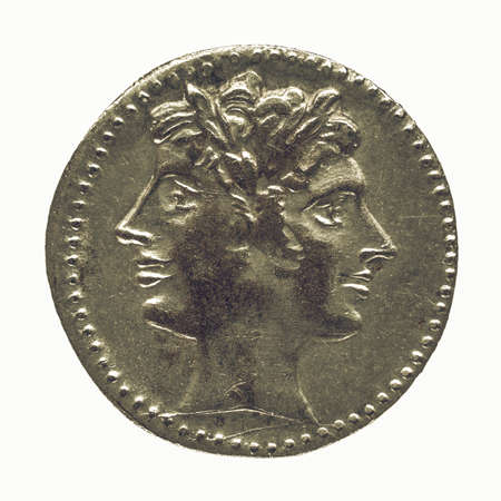 janus: Vintage looking Ancient Roman coin isolated over white background Stock Photo