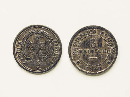 romana: Vintage looking Old Italian coin 3 Baiocchi year 1849 from Repubblica Romana meaning Roman Republic