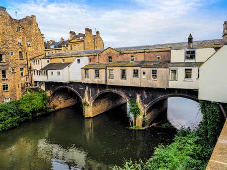 HDR Pulteney Bridge over the River Avon in Bath, UK Stock Photo