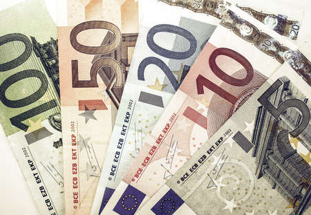 geld: Vintage looking Euro banknote (currency of the European Union) Stock Photo